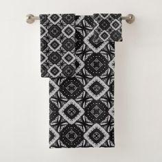 Black and Gray Geometric Pattern Elegant Bath Towel Set - black gifts unique cool diy customize personalize