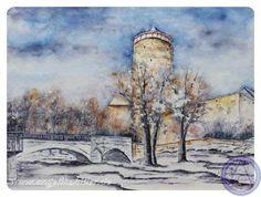 Bautzen - Alte Wasserkunst Aquarell 30 x 40 cm