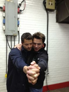 """In spite of the old saying, I'm quite adept at tangoing alone. That said it is much easier with two."" (Misha's tweet) CASTIEL AND CAPTAIN JACK DANCING TOGETHER!!! SuperWho"