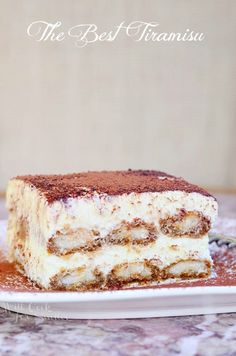 The Best Tiramisu Recipe. Tiramisu is made with layers of espresso dipped Ladyfingers cookies, smooth mascarpone cream with a hint of Amaretto and dusted with cocoa powder. Classic Desserts, Mini Desserts, Chocolate Desserts, Just Desserts, Delicious Desserts, Plated Desserts, Tiramisu Recipe Giada, Tiramisu Dessert, Tiramisu Cheesecake