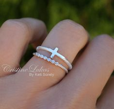 Sideways Cross Ring with CZ Stone Ring  Stacking Ring Set
