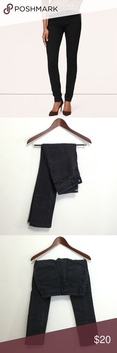 Ann Taylor LOFT Curvy Straight Black Jeans The Curvy Straight jeans from LOFT in black. Worn indoors in office environment only, nice natural fade from wear. Note jeans are not as dark as in stock photo. Great used condition. Size 0/25. LOFT Jeans Straight Leg