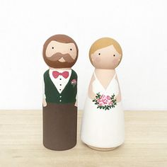 Hand Painted Wedding Cake Toppers, Custom Wood Peg Bride and Groom, Whimsical Wedding Cake Toppers, Custom Wood Doll Ornaments, Whimsical by kenziecardco on Etsy https://www.etsy.com/ca/listing/265764998/hand-painted-wedding-cake-toppers-custom