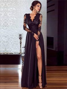 A-Line Long Sleeves Lace Chiffon Long Prom Dress Formal Evening Dresses 601462 Evening Gowns With Sleeves, Long Sleeve Evening Dresses, Prom Dresses Long With Sleeves, Evening Party Gowns, Maxi Dress With Slit, Formal Evening Dresses, Dress Formal, Formal Gowns, Formal Romper