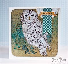 Card making, snow owl, handmade card, by jenandtricks