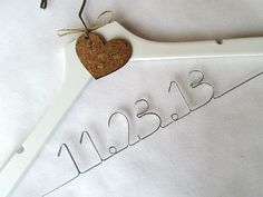 Personalized Bridal Hanger with CORK HEART Decoration  by AntoArts, $25.00