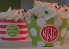 Custom cupcake wrappers.  Might get these for the Brown Dog!