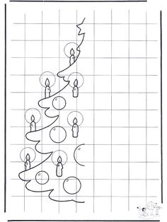X-mastree drawing - Craft Christmas Christmas Worksheets, Christmas Math, Christmas Activities, Christmas Crafts, Xmas, Graph Paper Art, Doodle Pages, Geometric Drawing, Art Worksheets