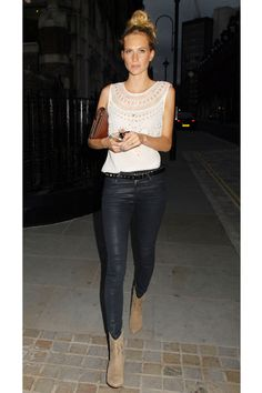 Poppy Delevingne looking perfect from the top knot down to the booties, summer 2014