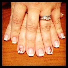 Shellac French Manicure with Cherry Blossoms created by our amazing nail tech, Julie Alsip!!!