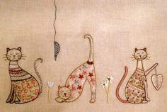 프랑스자수, 프랑스자수배우기, 프랑스자수도안 <월든문화센터> - 고양이자수 고양이 자수Embroider...