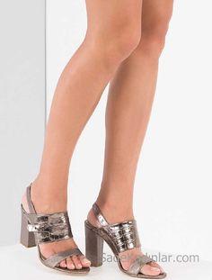 Hotiç Ayakkabı Modelleri Platin Topuklu Arkadan Bağlamalı