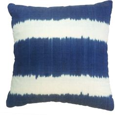 Nomad Design - Indigo Stripe Ikat Cushion (895 CNY) ❤ liked on Polyvore featuring home, home decor, throw pillows, asian home decor, ikat home decor, striped throw pillows, patterned throw pillows and oriental home decor