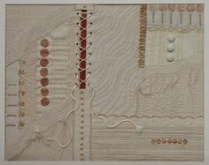 Fascinating Rhythms by Jenny Blackburn. Hand and machine stitchery on various fabrics.  Buttons used as embellishment.