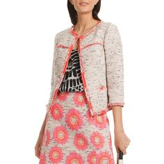 Trina Turk La Brea Three-Fourth Sleeve Jacket ($398) ❤ liked on Polyvore featuring outerwear, jackets, pink multi, trina turk jacket, trina turk, jacquard jacket, pink jacket and sleeve jacket