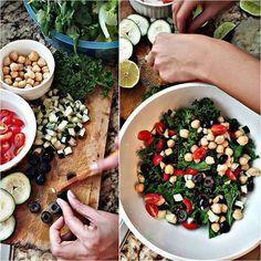Buenooooo @gberas se salvo con esta nueva chef en su hogar  Hoy le prepare una rica ensalada griega hecha con kale, tomates cherry, cebolla, aceitunas negras, garbanzos y pepino  El aderezo a base de aceite de oliva, perejil, limon, vinagre de manzana, sal, pimienta y oregano. DELICIOSA  #healthychoice (la receta la vi en #pinterest).