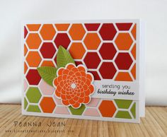 bright and beautiful handmade card ... colors of cQc #148 ... Paper Trey Ink's hexagon cover plate to cut the hexagons ... birthday card ...