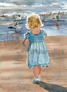 "Blond Beach Girl Toddler Play With Seagulls, Blue Dress, Blue Ocean Children Watercolor Painting Print, Wall Art, Home Decor, ""Sandy Stroll"""