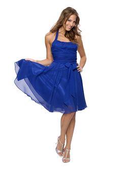 Astrapahl, Elegantes knielanges Neckholder Cocktailkleid, Farbe blau: Amazon.de: Bekleidung