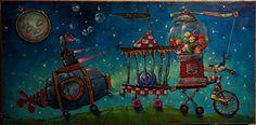 Cosmic Caravan by Angie Rees Oil ~ 12 x -