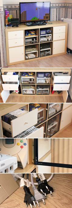 console gaming shelf konsole wohnideen und regal. Black Bedroom Furniture Sets. Home Design Ideas