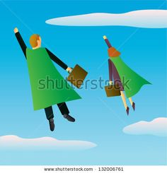 Two business people super heroes flying high into the sky. - stock vector