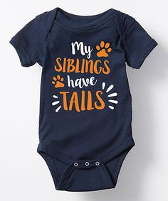 Navy 'My Siblings Have Tails' Bodysuit - Infant