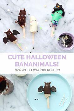 Make healthy, yummy Halloween bananimals for a spooky seasonal snack Frozen Banana Recipes, Frozen Banana Pops, Halloween Dip, Frozen Halloween, Halloween Treats, Food Art For Kids, Cooking With Kids, Fun Foods To Make, Banana Treats