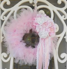 Pink Princess Lace Rose Spring Wreath White Marie Antoinette Floral Lace Tulle Candy Bridal Victorian Spring  SCT
