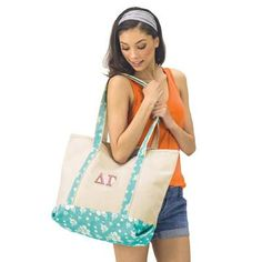 Sorority Beach Bag with Embroidered Greek Letters - - EMB Greek Gear, Custom Greek Apparel, Sorority Outfits, Delta Gamma, Sorority And Fraternity, Greek Clothing, 2 Colours, Gym Bag, Letters