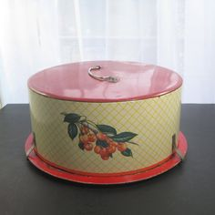 Retro Decoware Cake Tin Carrier by SugarLMtnAntqs on Etsy
