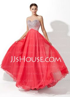 Prom Dresses - $149.99 - A-Line/Princess Sweetheart Floor-Length Tulle Charmeuse Prom Dress With Beading (018004812) http://jjshouse.com/A-Line-Princess-Sweetheart-Floor-Length-Tulle-Charmeuse-Prom-Dress-With-Beading-018004812-g4812