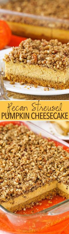 Pecan Streusel Pumpkin Cheesecake - creamy pumpkin spice cheesecake with pecan streusel! Great for thanksgiving and the holidays!