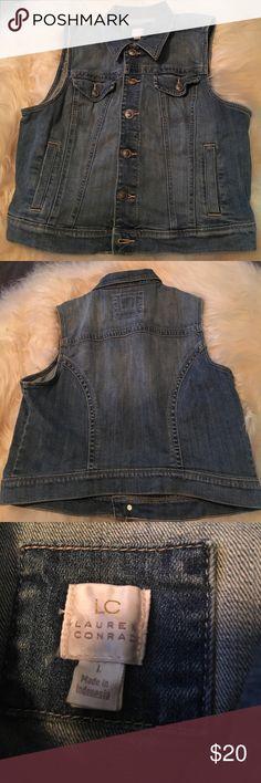 LC Lauren Conrad denim vest, size L, EUC LC Lauren Conrad denim vest, size L EUC LC Lauren Conrad Jackets & Coats Vests