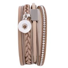 """1 Bracelet - Fits 12MM Candy Snap Charms 7.25"""" Brown Tan Leather Silver ks0611-s CJ0468"""