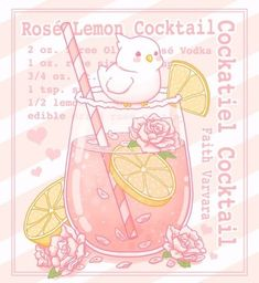I saw a frickin' adorable albino Cockatiel the other day and wanted to do another Cockatiel Cocktail drawing🌸🍋 Cute Animal Drawings Kawaii, Cute Food Drawings, Cute Kawaii Animals, Kawaii Doodles, Cute Doodles, Kawaii Art, Aesthetic Anime, Aesthetic Art, Cute Food Art