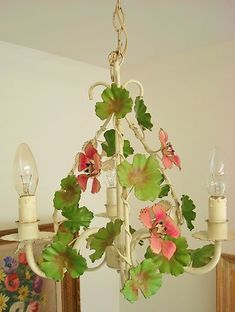 RARE Delicious Shabby French Chic Trailing Geraniums Toleware Tole Chandelier | eBay