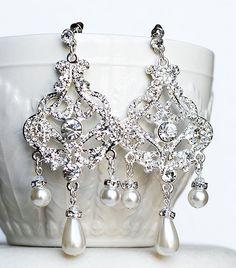 SALE Bridal Pearl Rhinestone Chandelier Earrings by LXdesigns, $42.00