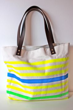 Neon and Neutral Canvas Tote Bag with Leather Handles