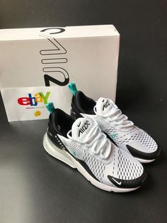 e1f964bb20c35 New Nike Air Max 270 Mens AH8050-001 Grey Green White Trainer