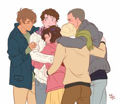 group hug by Azeher - The Raven Cycle Maggie Stiefvater, Fanart, Family Hug, Blue Raven, Blue Sargent, Raven King, Rabe, Comic, Book Characters