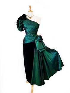60s Dress Emerald Velvet Rose After Five by Julie by KMalinka, $285.00