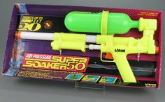 Super Soaker. my kids' favorite toy of the 80's. didn't think about the gun connection til now! I just know they were always getting us soaked.