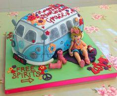 Woodstock camper van birthday cake from The Jolly Good Pud Company www.jollygoodpud.co.uk