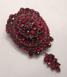Antique Victorian Rose Cut Bohemian Garnet Mourning Locket Brooch Pendant | eBay