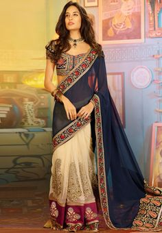 Blue Embroidered Saree at $332.88 (24% OFF)