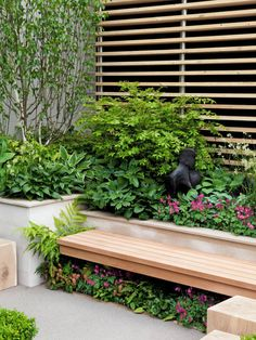 "For under the deck: ""Plant Shade Loving Perennials Under Garden Bench: This secluded part of the garden features shade loving perennials planted under a garden bench that adds interest and color to this corner of the garden. Back Gardens, Small Gardens, Outdoor Gardens, Garden Pictures, Garden Photos, Landscape Design, Garden Design, Garden Seating, Garden Benches"