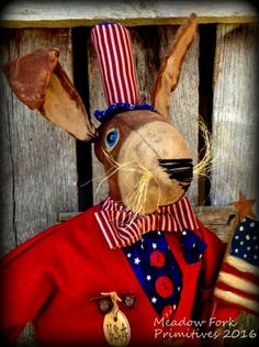 Primitive Folk Art Americana Samuel Standing Rabbit Doll-Patriotic Uncle Sam Outfit-USA-Memorial Day, July 4th, Veterans Day-Hafair , Faap by MeadowForkPrims on Etsy