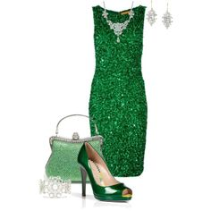 """""""Green Dress"""" by maggie-johnston on Polyvore"""