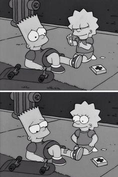 Bart y Lisa Bart Simpson Tumblr, Bart And Lisa Simpson, Simpsons Drawings, Simpsons Art, Simpson Wallpaper Iphone, Sad Wallpaper, Cartoon Memes, Cartoon Pics, Cartoons